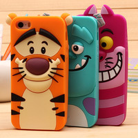 For S4 S4 Mini S5 S6 S7 S3 Cases For Samsung Galaxy S3 Mini Note 3 4 A3 A5 A7 Cute Sulley tiger Alice Cat Silicon Phone Case