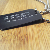Gay Hipster Necklace Custom Dog Tag Personalized Hematite Metal Dogtag Unisex Men Lesbian Trans LGBT Gender Pride Birthday Coming Out Gift