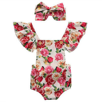 Cotton Newborn Baby Girls Floral Ruffles Sleeveless Kids Infant Jumpsuit Bodysuit Playsuit +Headband Clothes Set Outfits Sunsuit