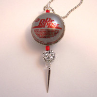 Dr. Pepper Bottle Cap Bead with spike Necklace