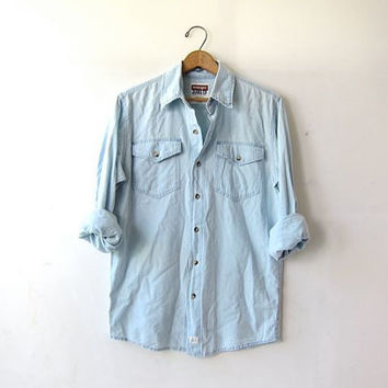 vintage chambray shirt. washed out denim shirt. light wash jean shirt. Loose fit chambray shirt.