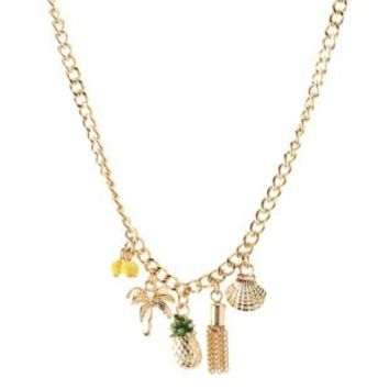 Multi Tropical Charm Necklace by Charlotte Russe
