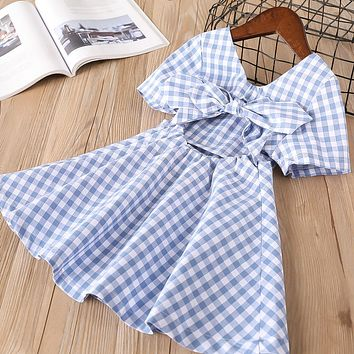 New baby Girl clothes Summer short sleeve dress Kids Clothes square collar Casual plaid strapless bow dresses