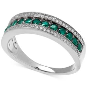 Emerald (1/2 ct. t.w.) and White Diamond (1/8 ct. t.w.) Band in Sterling Silver (Size 7) | macys.com