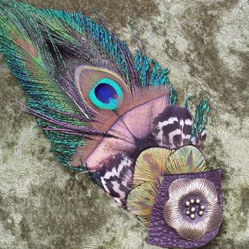 Funky Peacock Earthy Feather Hat Pin/Hair Clip Tribal Nouveau