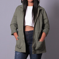 Plus Size Hooded Cargo Jacket- Olive