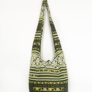 Geometric Print Fabric Sling Shoulder Bag CrossBody Bag Cotton Hippie Boho Style Handmade Lime Green
