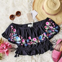 RahiCali Boho Tropics Top in Black
