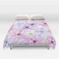 clematis vines Duvet Cover by Sylvia Cook Photography