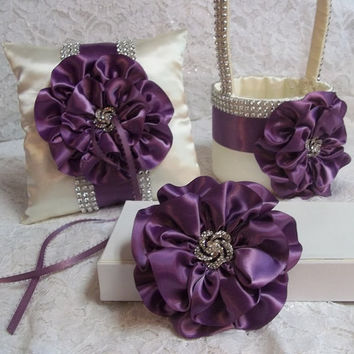 Flower Girl Basket, Ring Bearer Pillow and Flower Hair Clip, Amethyst Purple & Ivory with Rhinestone Mesh handle and Trim, Made to Order