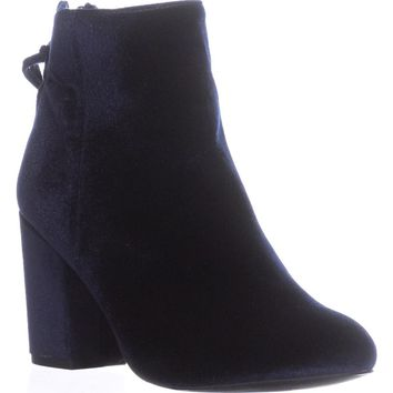 Steve Madden Cynthia Rear Zip Booties, Navy Velvet, 6 US