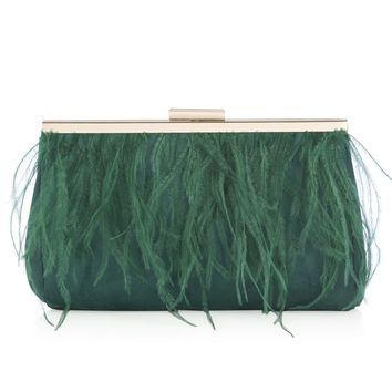 Ava Ostrich Feather Clutch
