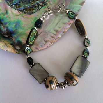 Abalone Shell Bracelet Green Paua and Lamp Work Glass Beaded Handmade Jewelry With Fancy Sterling Silver Spacer Beads Earth and Sea Colors