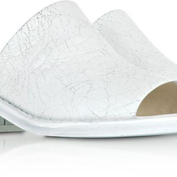 MM6 Maison Martin Margiela White Crackled Leather Slides Sandals