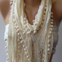 Ivory Beige -  Lace and Elegance Shawl / Scarf - with Pompom......