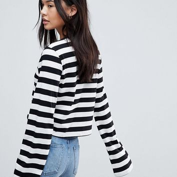 ASOS Boxy Top With Long Sleeve In Stripe at asos.com