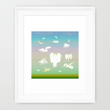 Angels Amongst The Clouds Framed Art Print by Kat Worth