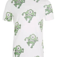 White Monsters Inc Print Crew T-Shirt - Mens T-shirts & Tank Tops - Clothing - TOPMAN USA