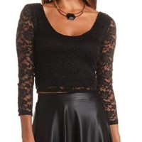 Plunging Double Scoop Lace Crop Top by Charlotte Russe