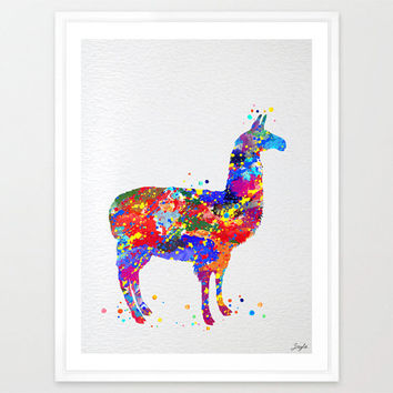Alpaca Llama Watercolor illustration Art Print,Wall Art Poster,Nursery Art Decor Print,Wall Hanging,Kids Art,Wedding,Birthday Gift, #151