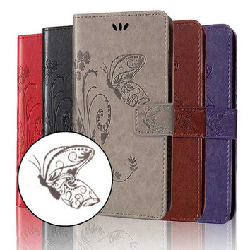 Case For Iphone 7 Cover 7 Plus, Butterfly Embossing Design Flip Wallet Case For Iphone 7 Plus Phone Coque Hoesjes Pu Leather