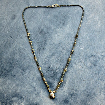 Beaded Boho Necklace, Spinel Necklace, Pyrite Pendant, Black Beaded Necklace, Black and Gold Boho Jewelry, Gemstone Necklace, Delicate Edgy
