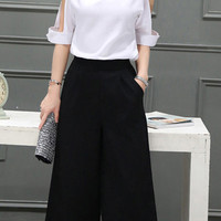 Short Sleeve V Neck Top + Palazzo Pants Suit
