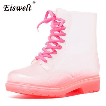 EISWELT Rain Boots For Women Transparent Candy Colors Heels shoes Mid-Calf Rubber Rainboots Lace Up Water Boots Shoes#ZQS164