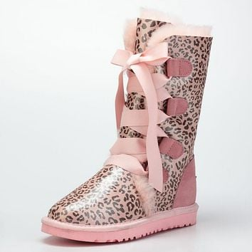 UGG Winter Warm Trending Women Men Fur Leopard Print Snow Boots Anti-Skid High Boots Pink