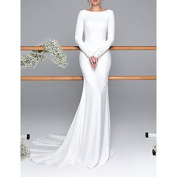 Mermaid / Trumpet Bateau Neck Sweep / Brush Train Satin Long Sleeve Mordern Backless Made-To-Measure Wedding Dresses with Buttons 2020