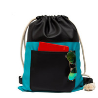 Black & Turquoise BackPack, DrawString bag, Sack pack, Women backpack Laptop Backpack, Men BackPack