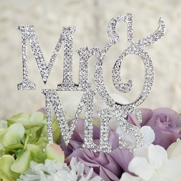PuTwo 1 X Mr & Mrs Monogram Silhouette Rhinestone Wedding Cake Topper Decoration with Crystals - Formal Font