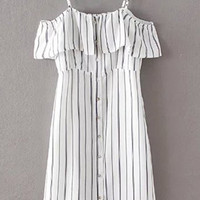 Striped Spaghetti Straps Flouncing Dress