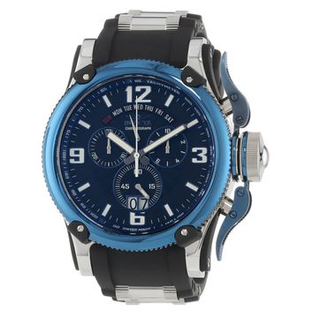 Invicta 12439 Men's Russian Diver Blue Bezel Black Dial Black Rubber Strap Chronograph Watch