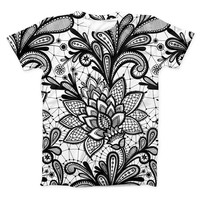 The Black and White Geometric Floral ink-Fuzed Unisex All Over Full-Printed Fitted Tee Shirt