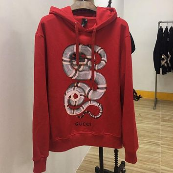 GUCCI Women Man Fashion Print Long Sleeve Top Sweater Pullover Hoodie