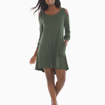 Soma Cold Shoulder Short Dress Deep Green
