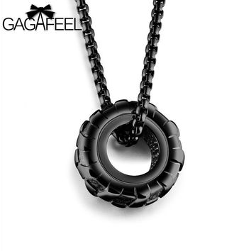 Statement Necklace Cool Tire Wheel Pendants Necklaces For Punk Men Jewelry Stainless Steel 3 Colors