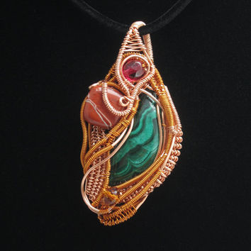 Wire Wrap Pendant in Copper with Malachite, Agate, and Czech Crystal Beads