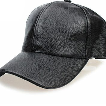 NEW Black PU Leather Baseball Cap Hip Hop caps Hat Trucker hats For Men women