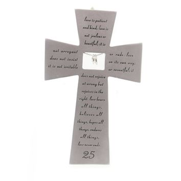 Home Decor 25TH ANNIVERSARY WALL CROSS Polyresin Love Marriage Kindness 40173