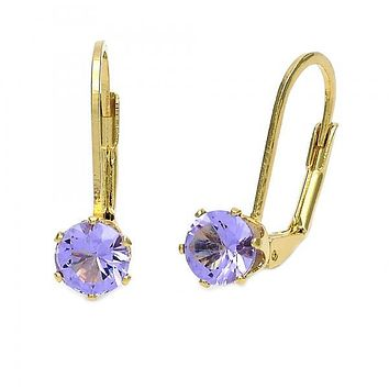 Gold Layered Leverback Earring, with Cubic Zirconia, Golden Tone