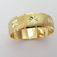 men and womens wedding band  6mm wide wedding ring yellow gold with stars