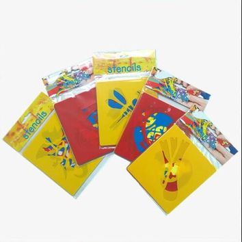 6pcs/set Kids Spray Stencil For Painting Embossing Paper Crafts Scrapbook Stamp DIY Tools Photo Album Card