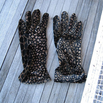 Women's Animal Print Gloves - 1980s Brown/Black Animal Print Gloves - One Size Fits All Stretchy Cheetah Print Costume/Fashionista Gloves