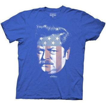 Parks & Recreation Ron Swanson American Flag Face Licensed Adult Unisex T-Shirts