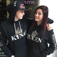 "2 matching ""queen"" and ""king"" black hoodies"