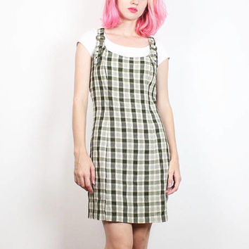 7a70cabe76 Vintage 90s Dress Olive Green Plaid School Girl Jumper Dress 199