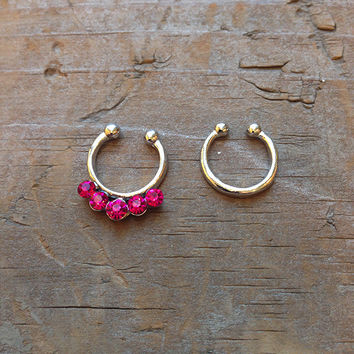 Pink Rhinestone Faux Septum Piercing Set, Silver Tiny Clip On Nose Ring