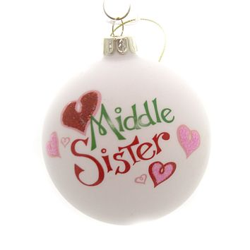 Holiday Ornaments LITTLE MIDDLE BIG SIBLING BALL Family Siblings C4890 Middle Sister
